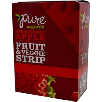 Pure Bar, Organic, Fruit & Veggie Strip, Strawberry Apple Naturally Flavored, 24 Bars, 0.49 oz (14 g) Each - iHerb.com