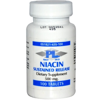 Progressive Laboratories, Niacin, Sustained Release, 500 mg, 100 Tablets - iHerb.com