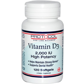 Protocol for Life Balance, Vitamin D3, High Potency, 2,000 IU, 120 Softgels - iHerb.com