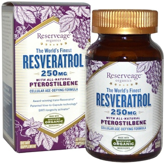 ReserveAge Nutrition, The World\'s Finest Resveratrol, with All-Natural Pterostilbene, 250 mg, 60 Veggie Caps - iHerb.com
