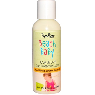Reviva Labs, Beach Baby, UVA & UVB Sun Protective Lotion, 4 fl oz (118 ml) - iHerb.com