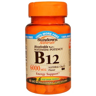 Rexall Sundown Naturals, B12, Maximum Potency, Natural Cherry Flavor, 6000 mcg, 60 Microlozenges - iHerb.com