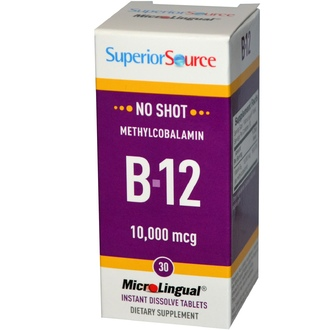 Superior Source, B-12, Methylcobalamin, 10,000 mcg, 30 MicroLingual Instant Dissolve Tablets - iHerb.com