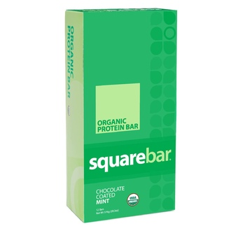 Squarebar, Organic Protein Bar, Chocolate Coated Mint , 12 Bars, 1.7 oz (48 g) Each - iHerb.com