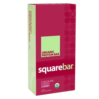 Squarebar, Organic Protein Bar, Chocolate Coated Cherry, 12 Bars, 1.7 oz (48 g) Each - iHerb.com