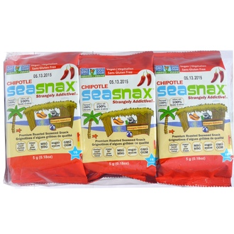 SeaSnax, Grab & Go, Spicy Chipotle, Roasted Seaweed Snack, 6-pack (.21 oz each) - iHerb.com