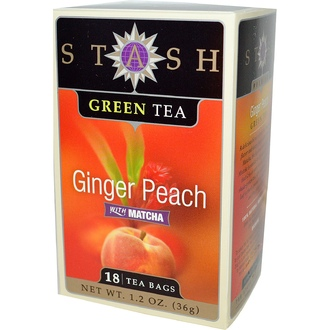 Stash Tea, Green Tea, Ginger Peach with Matcha, 18 Tea Bags, 1.2 oz (36 g) - iHerb.com