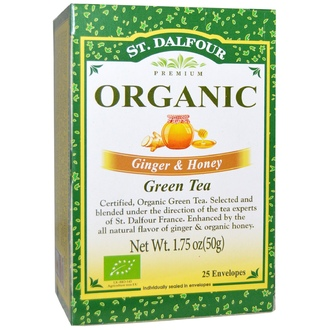 St. Dalfour, Organic Green Tea, Ginger & Honey, 25 Tea Bags, (.07 oz (2 g) Each - iHerb.com