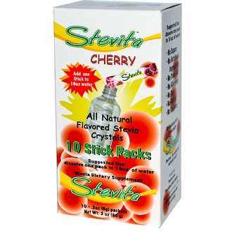 Stevita, Stevita Crystals, Cherry, 10 Sticks Packs (.2oz, 6g)  - iHerb.com