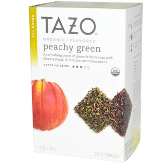 Tazo Teas, Organic, Green Tea, Peachy Green Flavored, 20 Filterbags, 1.4 oz (40 g) - iHerb.com