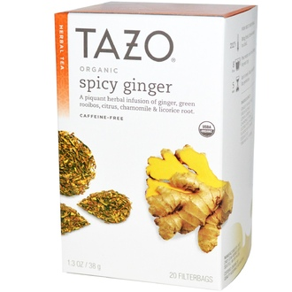 Tazo Teas, Organic, Herbal Tea, Spicy Ginger, Caffeine-Free, 20 Filterbags, 1.3 oz (38 g) - iHerb.com