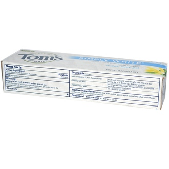 Tom\'s of Maine, Simply White, Fluoride Toothpaste, Sweet Mint Gel, 4.7 oz (133.2 g) - iHerb.com