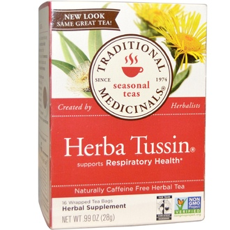 Traditional Medicinals, Herbal Tea, Herba Tussin, Caffeine Free, 16 Wrapped Tea Bags, .99 oz (28 g) - iHerb.com