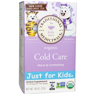 Traditional Medicinals, Just for Kids, Organic Cold Care, Herbal Tea, Caffeine Free, 18 Tea Bags, .96 oz (27 g) - iHerb.com