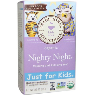 Traditional Medicinals, Organic, Just for Kids, Nighty Night Calming and Relaxing Tea, 18 Wrapped Tea Bags, .96 oz (27 g) - iHerb.com