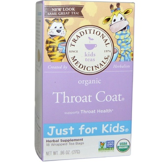 Traditional Medicinals, Just for Kids, Organic Throat Coat, Naturally Caffeine Free Herbal Tea, 18 Wrapped Tea Bags, .96 oz (27 g) - iHerb.com