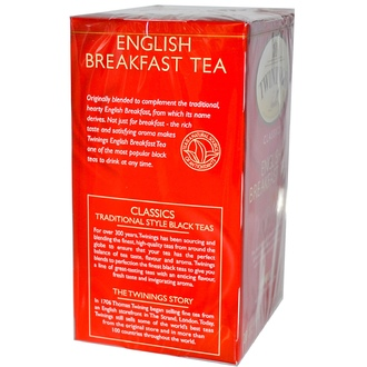 Twinings, Classics, English Breakfast Tea, Medium Tea Strength, 20 Tea Bags, 1.41 oz (40 g) - iHerb.com