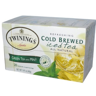 Twinings, Cold Brewed Iced Tea, Green Tea with Mint, 20 Tea Bags, 1.41 oz (40 g) - iHerb.com