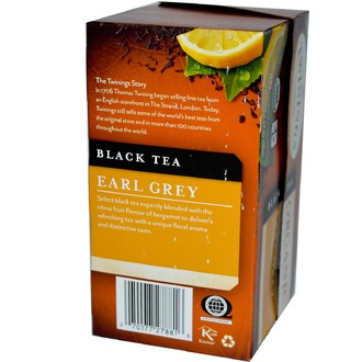 Twinings, Organic Black Tea, Earl Grey, 20 Tea Bags, 1.27 oz (36 g) - iHerb.com