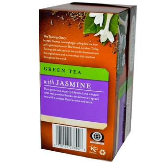 Twinings, 100% Organic Green Tea with Jasmine, 20 Tea Bags, 1.41 oz (40 g) - iHerb.com