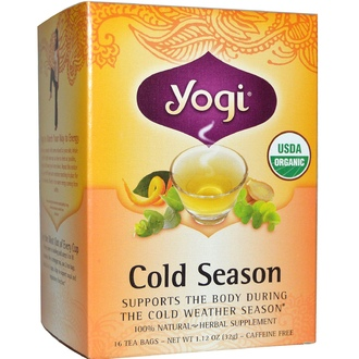 Yogi Tea, Organic, Cold Season, Caffeine Free, 16 Tea Bags, 1.12 oz (32 g) - iHerb.com
