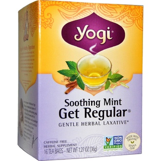 Yogi Tea, Get Regular, Soothing Mint, Caffeine Free, 16 Tea Bags, 1.27 oz (36 g) - iHerb.com