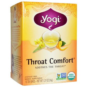 Yogi Tea, Organic, Throat Comfort, Caffeine Free, 16 Tea Bags, 1.27 oz (36 g) - iHerb.com