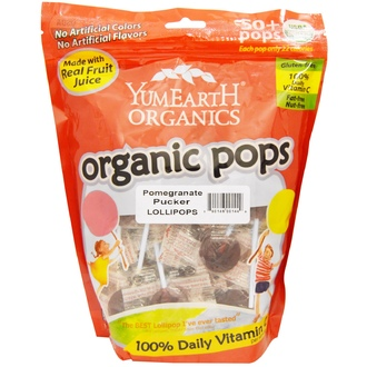 Yummy Earth, Organic Lollipops, Pomegranate Pucker, 50+ Pops, 12.3 oz (349 g) - iHerb.com