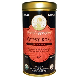 Zhena\'s Gypsy Tea, Organic, Black Tea, Gypsy Rose, 22 Sachets, 1.55 oz (44 g) - iHerb.com