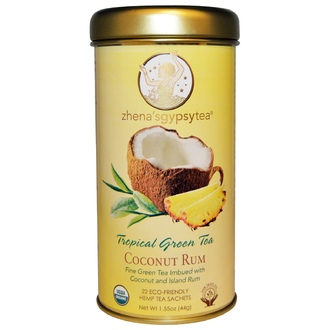 Zhena\'s Gypsy Tea, Tropical Green Tea, Coconut Rum, 22 Sachets, 1.55 oz (44 g) - iHerb.com